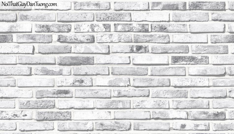 Art Noveau, Giấy dán tường Hàn Quốc 9355-1 , giả gạch màu trắng xám