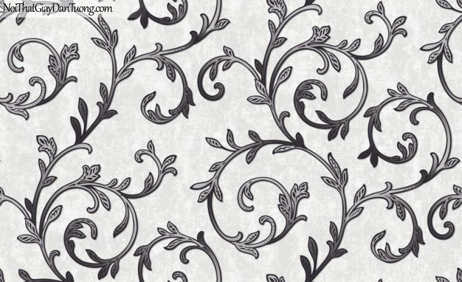 Art Noveau, Giấy dán tường Hàn Quốc 9357-4, giấy dán tường hoa văn đen xám