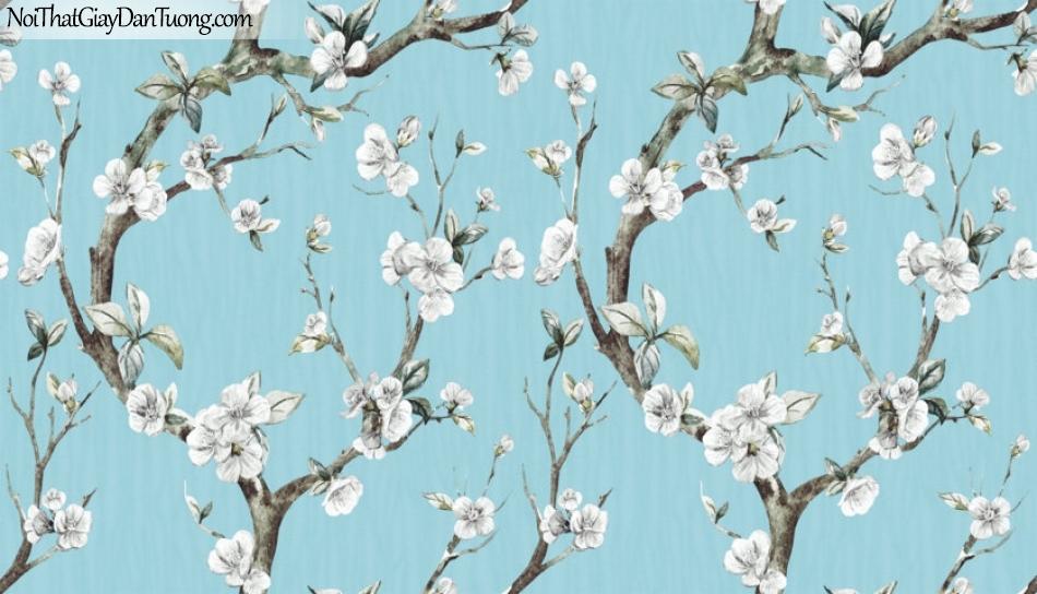 Art Noveau, Giấy dán tường Hàn Quốc 9360-3, giấy dán tường nền xanh nhạt hoa đào