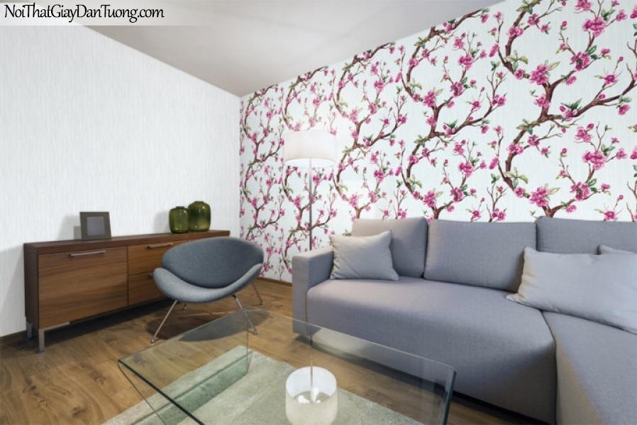 Art Noveau, Giấy dán tường Hàn Quốc 9361-1,9360-1 pc, giấy dán tường hoa đào đỏ