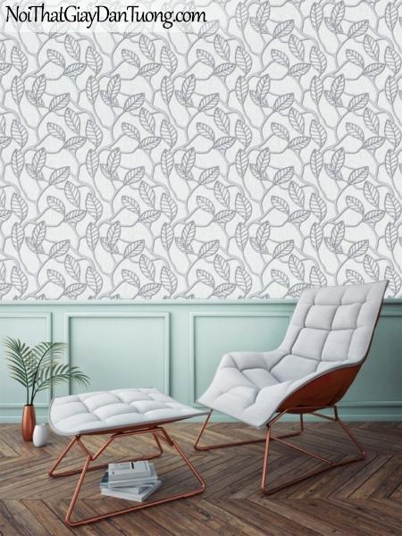 Art Noveau, Giấy dán tường Hàn Quốc 9362-4 pc, giấy dán tường phối cây và lá màu xám