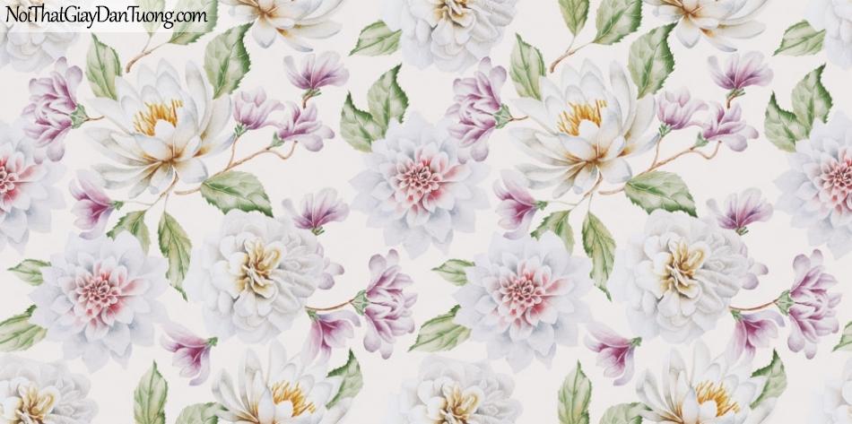 Art Noveau, Giấy dán tường Hàn Quốc 9364-1, giấy dán tường phối nhiều hoa lớn