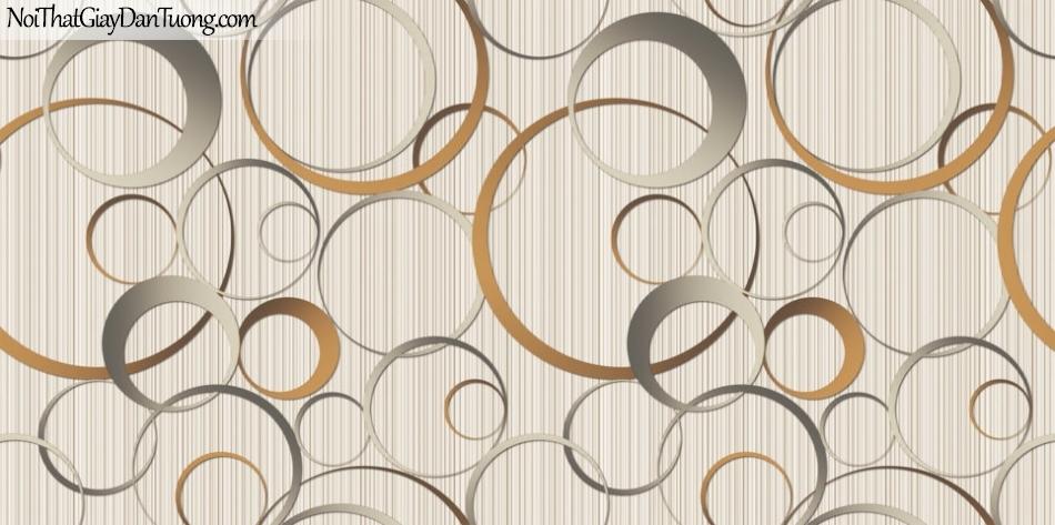 Art Noveau, Giấy dán tường Hàn Quốc 9365-4 , giấy dán tường nền sọc nhỏ phối nhiều hình tròn lớn nhỏ màu vàng đen xám