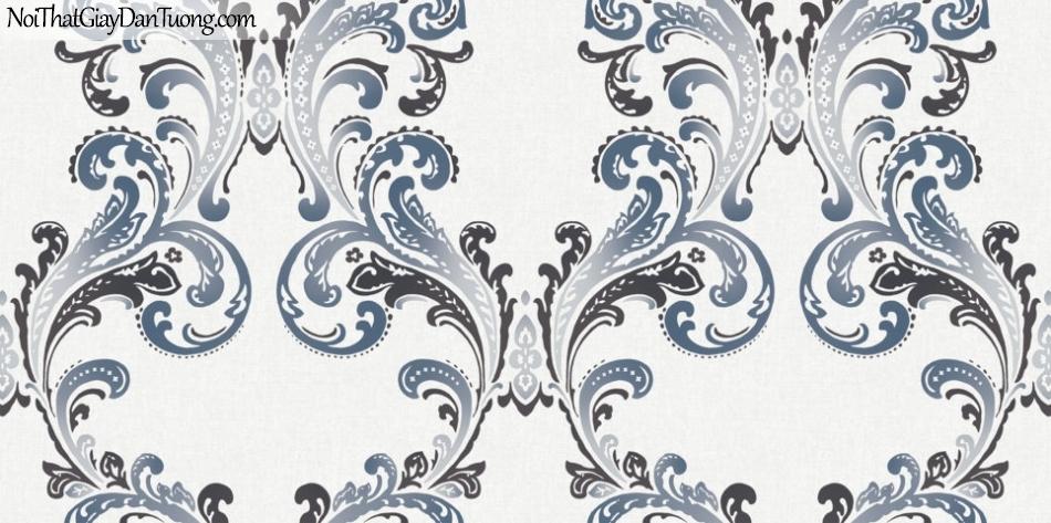 Art Noveau, Giấy dán tường Hàn Quốc 9367-1, giấy dán tường phối hoa văn màu xanh xám và đen