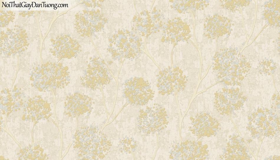 Art Noveau, Giấy dán tường Hàn Quốc 9369-2 ,giấy dán tường nhiều hoa và màu vàng chủ đạo