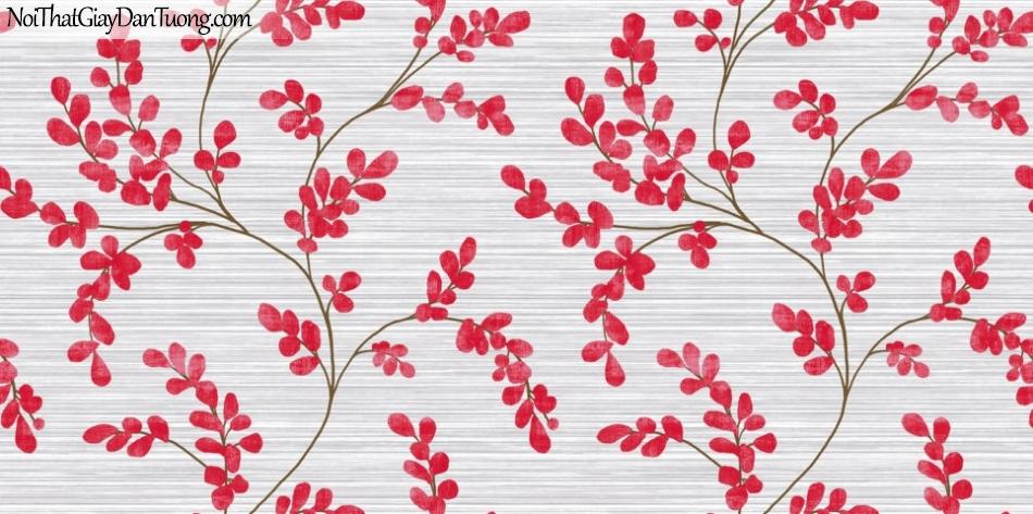 Art Noveau, Giấy dán tường Hàn Quốc 9372-2 , giấy dán tường nhiều sọc ngang nhỏ và nhiều hoa màu đỏ