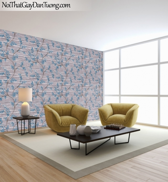 Art Noveau, Giấy dán tường Hàn Quốc 9372-3 pc, giấy dán tường nền xám đậm sọc nhỏ ngang nhiều hoa màu xanh