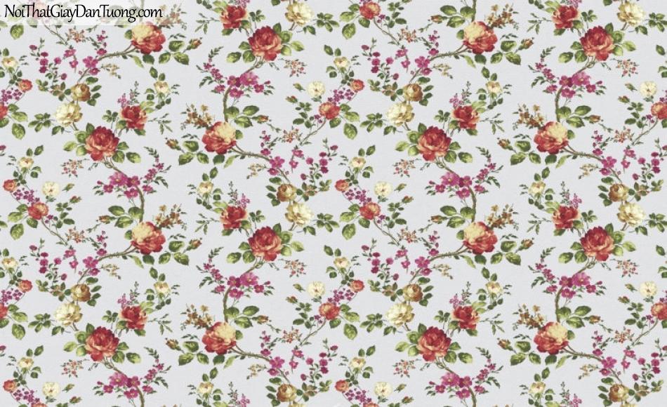 Art Noveau, Giấy dán tường Hàn Quốc 9378-1 giấy dán tường nền màu trắng nhiều bông hoa nhỏ màu đỏ