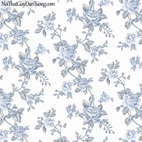 J100, Giấy dán tường Hàn Quốc, J100 9371-2- giấy dán tường màu trắng nền có nhiều hoa màu xanh