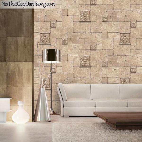 3D, Giấy dán tường giả đá, giả đá màu trắng 3D 2605-1 g pc, giấy dán tường gải đá màu vàng có vài ô hoa văn