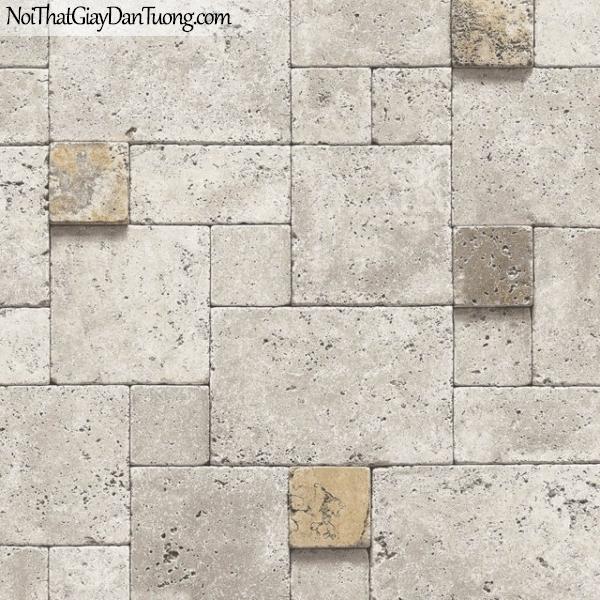 3D, Giấy dán tường giả đá, giả đá màu trắng 3D 9264-1 g, giấy dán tường màu xám có vài viên vàng