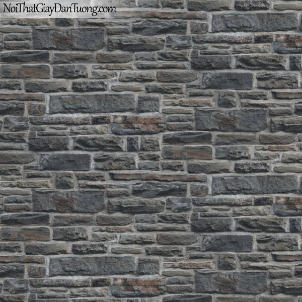 3D, Giấy dán tường giả đá, giả đá màu trắng 3D 83110-1 g, giấy dán tường giả đá màu xám tối