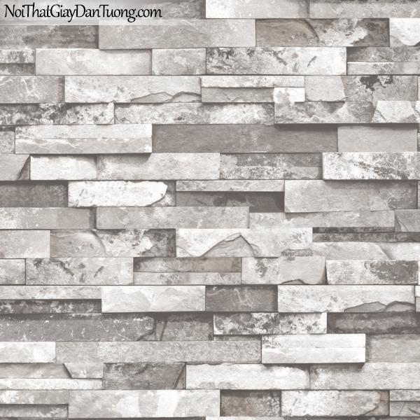 3D, Giấy dán tường giả đá, giả đá màu trắng 3D 85010-2 g, giấy dán tường giả đá màu xám trắng