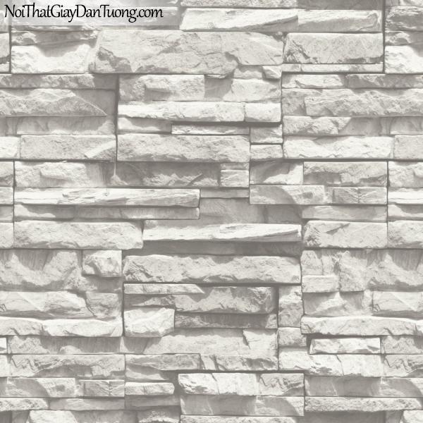 3D, Giấy dán tường giả đá, giả đá màu trắng 3D 85015-1 g, giấy dán tường màu trắng hơi xám