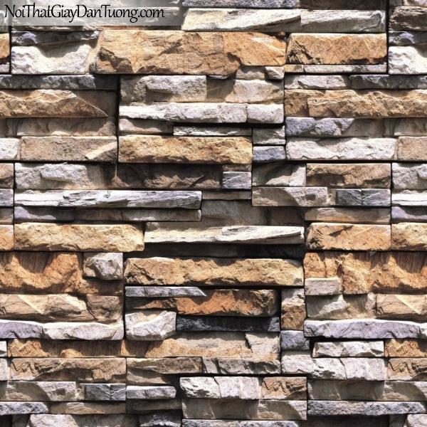 3D, Giấy dán tường giả đá, giả đá màu trắng 3D 85015-2 g, giấy dán tường nền vàng chủ đạo