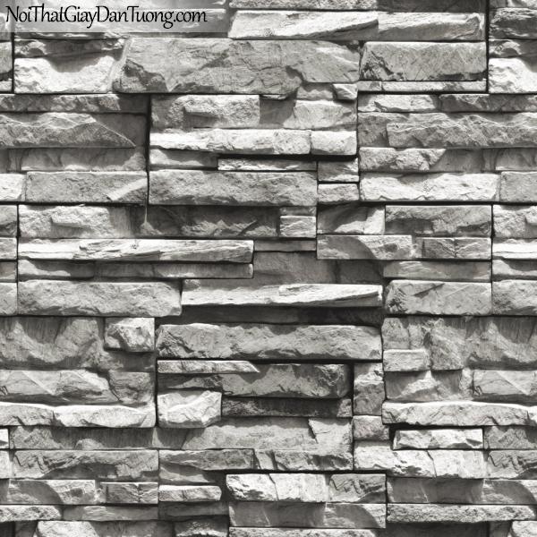 3D, Giấy dán tường giả đá, giả đá màu trắng 3D 85015-3 g, giấy dán tường giả đá màu xám tối