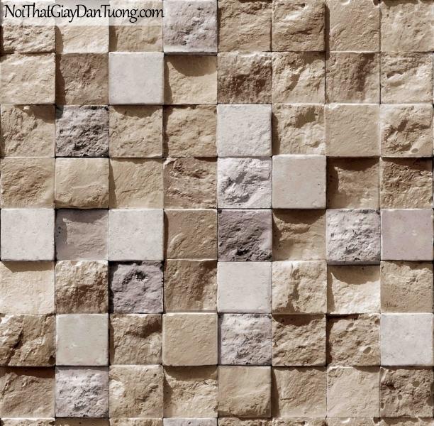 3D, Giấy dán tường giả đá, giả đá màu trắng 3D 85018-1 g, giấy dán tường giả đá màu nâu vàng chủ đạo