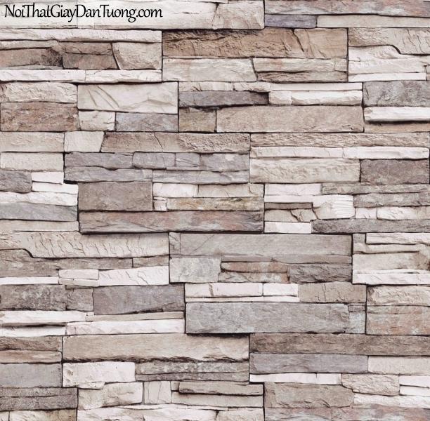 3D, Giấy dán tường giả đá, giả đá màu trắng 3D 85024-2 g, giấy dán tường nền vàng xám