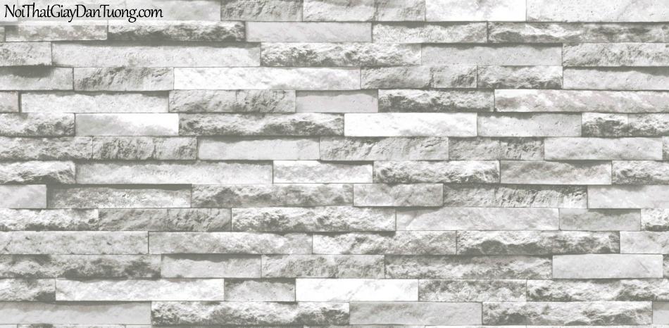 3D, Giấy dán tường giả đá, giả đá màu trắng 3D 85047-1 g, giấy dán tường nền xám