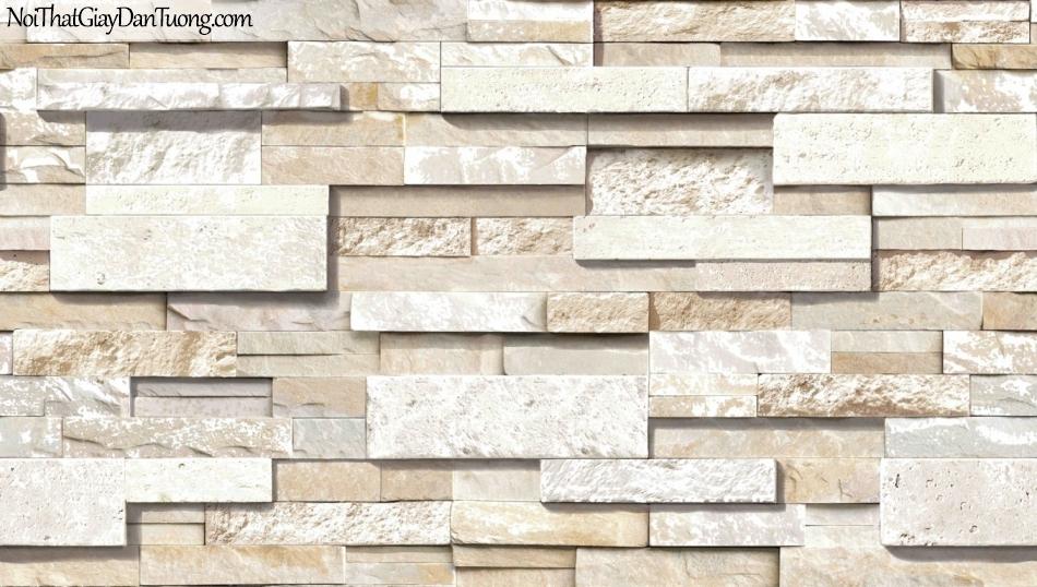 3D, Giấy dán tường giả đá, giả đá màu trắng 3D 85050-2 g, giấy dán tường nền xám vàng