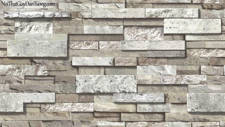 3D, Giấy dán tường giả đá, giả đá màu trắng 3D 85050-3 g, giấy dán tường nền xám nâu