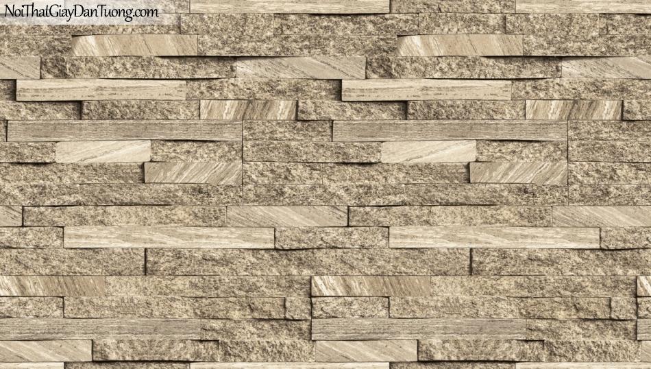 3D, Giấy dán tường giả đá, giả đá màu trắng 3D 85055-2 g, giấy dán tường nền vàng