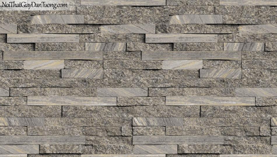 3D, Giấy dán tường giả đá, giả đá màu trắng 3D 85055-3 g, giấy dán tường nền xám nhẹ giả đá 3D