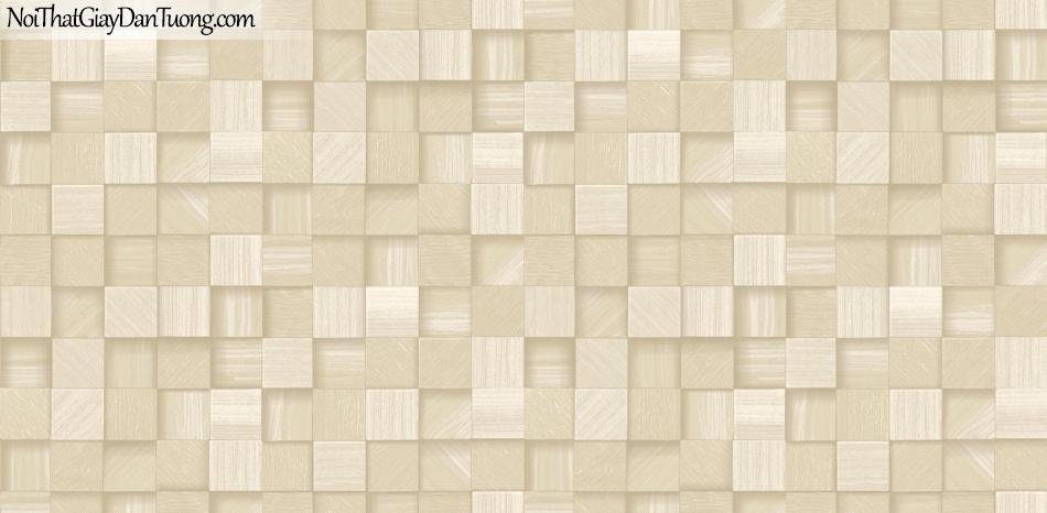 3D, Giấy dán tường giả đá, giả đá màu trắng 3D 85066-1 g, giấy dán tường nền vàng nhẹ có nhiều ô nhỏ tạo hình 3D