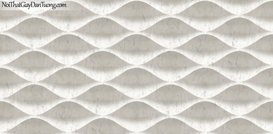 3D, Giấy dán tường giả đá, giả đá màu trắng 3D 85071-1 g, giấy dán tường nền trắng có vân , nhiều đường lượn sóng