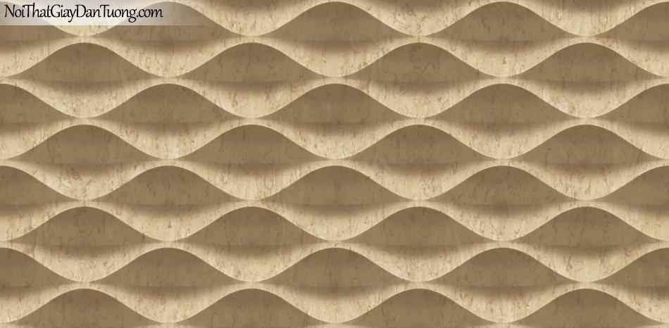 3D, Giấy dán tường giả đá, giả đá màu trắng 3D 85071-2 g, giấy dán tường nền trắng có vân , nhiều đường lượn sóng màu vàng nâu