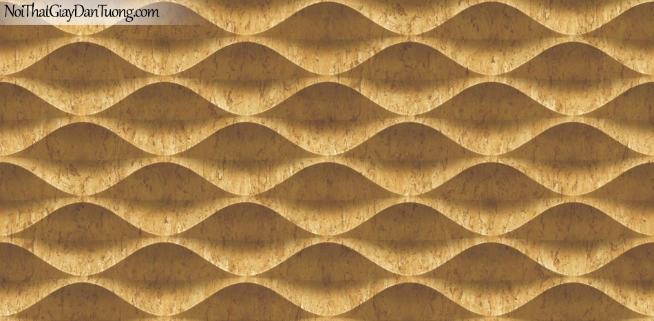 3D, Giấy dán tường giả đá, giả đá màu trắng 3D 85071-3 g, giấy dán tường nền trắng có vân , nhiều đường lượn sóng , màu vàng