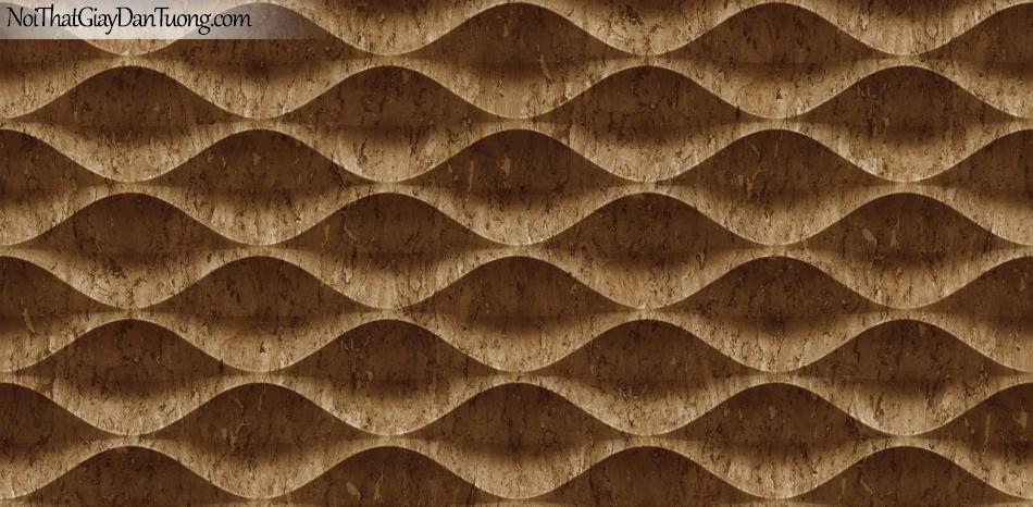 3D, Giấy dán tường giả đá, giả đá màu trắng 3D 85071-4 g, giấy dán tường nền trắng có vân , nhiều đường lượn sóng ,màu nâu đậm