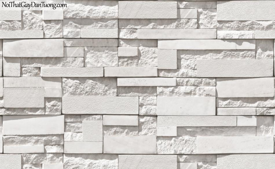 3D, Giấy dán tường giả đá, giả đá màu trắng 3D 87003-1 g, giấy dán tường giả đá màu trắng