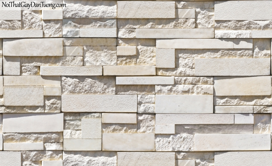 3D, Giấy dán tường giả đá, giả đá màu trắng 3D 87003-2 g, giấy dán tường trắng có ít màu vàng