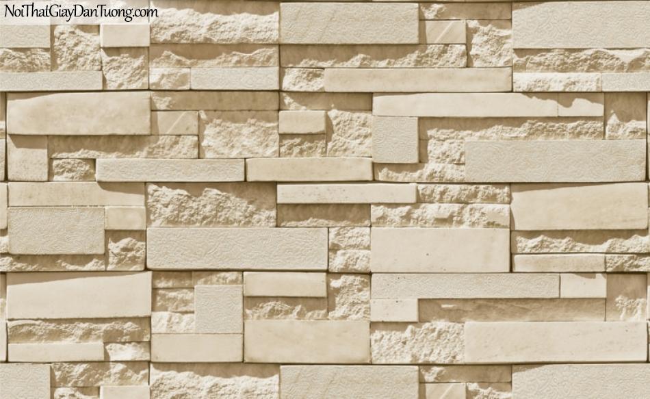 3D, Giấy dán tường giả đá, giả đá màu trắng 3D 87003-3 g, giấy dán tường màu vàng giả đá