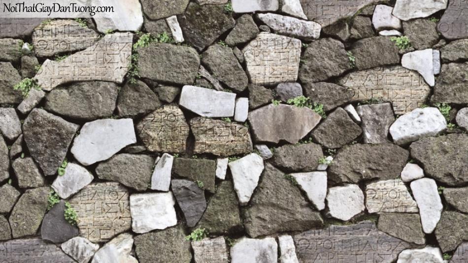 3D, Giấy dán tường giả đá, giả đá màu trắng 3D 87012-2 g, giấy dán tường giả đá 3D ,màu trắng và xám