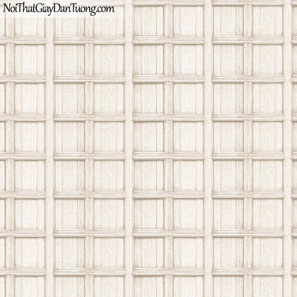 Giấy dán tường giả gỗ, những thanh gỗ đan xen vào nhau, ô vuông, màu vàng trắng 82958-1