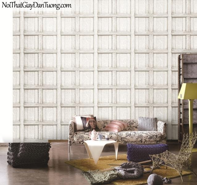 Giấy dán tường giả gỗ, những thanh gỗ nhỏ đan xen vào nhau, ô vuông, màu trắng xám 82958-1 gp PC