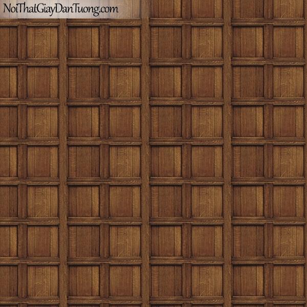 Giấy dán tường giả gỗ, những thanh gỗ nhỏ đan xen vào nhau, ô vuông, màu vàng nâu 82958-3 g