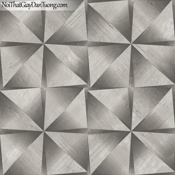 Giấy dán tường giả gỗ, những thanh gỗ nhỏ tam giác màu xám xếp cạnh nhau 13122 g