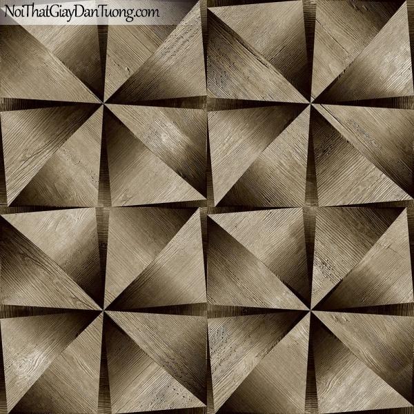 Giấy dán tường giả gỗ, những thanh gỗ nhỏ tam giác xếp cạnh nhau, màu vàng đen 13123 g