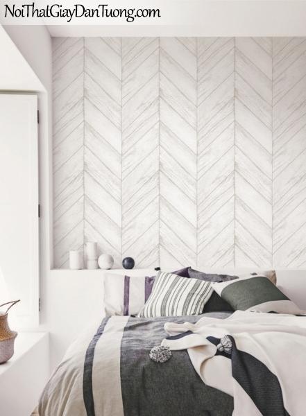 Giấy dán tường giả gỗ, những thanh gỗ nhỏ xếp cạnh nhau, màu trắng xám 70161-1 gp PC