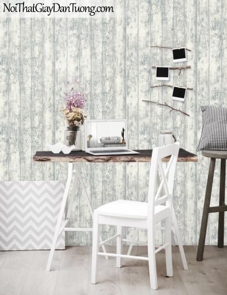Giấy dán tường giả gỗ, những thanh gỗ nhỏ xếp cạnh nhau, màu trắng xanh 56093-2 g