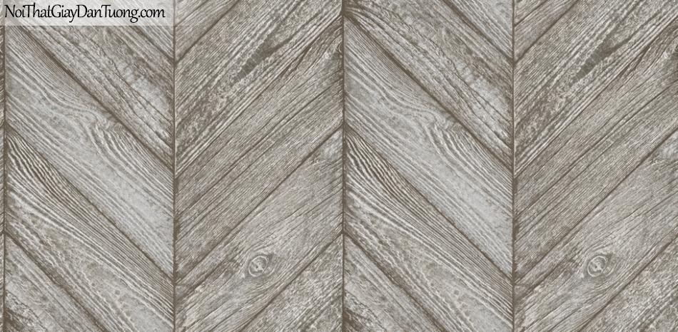 Giấy dán tường giả gỗ, những thanh gỗ nhỏ xếp cạnh nhau, màu xám nâu 70161-2 g