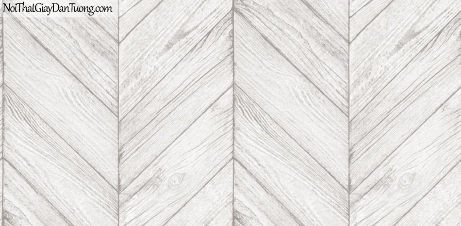 Giấy dán tường giả gỗ, những thanh gỗ nhỏ xếp chéo cạnh nhau, màu trắng xám 70161-1 g
