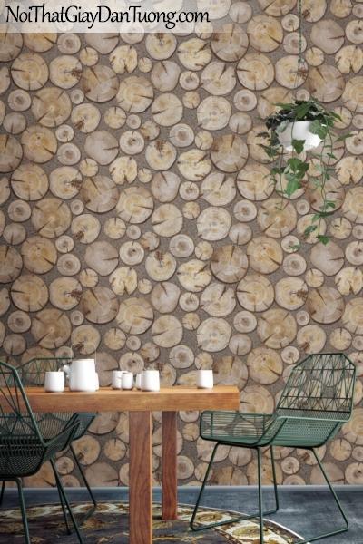 Giấy dán tường giả gỗ, những miếng gỗ xếp rời rạc, màu vàng đất 83114-1 g