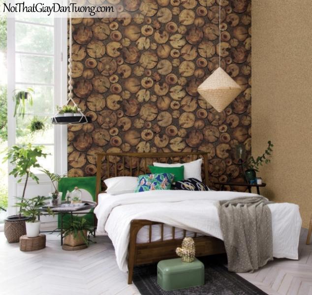 Giấy dán tường giả gỗ, những miếng gỗ xếp rời rạc,màu vàng đất 83114-2 g