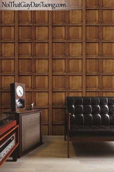 Giấy dán tường giả gỗ, những thanh gỗ nhỏ đan xen vào nhau, ô vuông, màu vàng đất 82958-3 gp PC