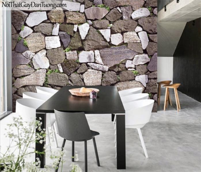 3D, Giấy dán tường giả đá, giả đá màu trắng 3D 87012-2 g pc, giấy dán tường giả đá 3D phối cảnh