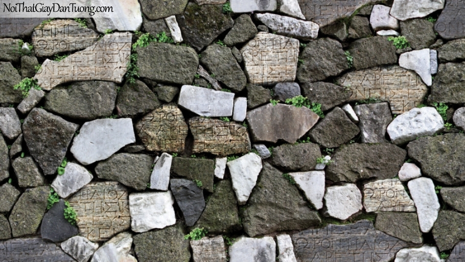 3D, Giấy dán tường giả đá, giả đá màu trắng 3D 87012-3 g, giấy dán tường giả đá